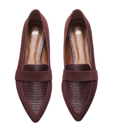 Amazing (faux) snakeskin and velvet loafers for a steal ($30) from H&M Source: sustenanceandstyle.com