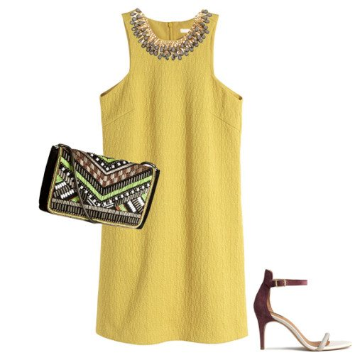 H&M Textured Yellow Dress