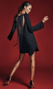 |Black Fringe Black Tunic Dress| Express.com