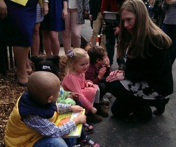Chelsea Clinton interacting with Urban Sprouts Youth.