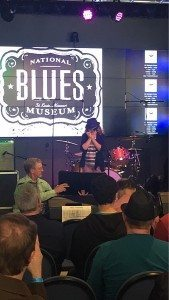 Kiersy Wisecarver, young star on the rising playing live in front of a packed house in the Lumiere Place Legends Room. At the grand opening of the National Blues Museum